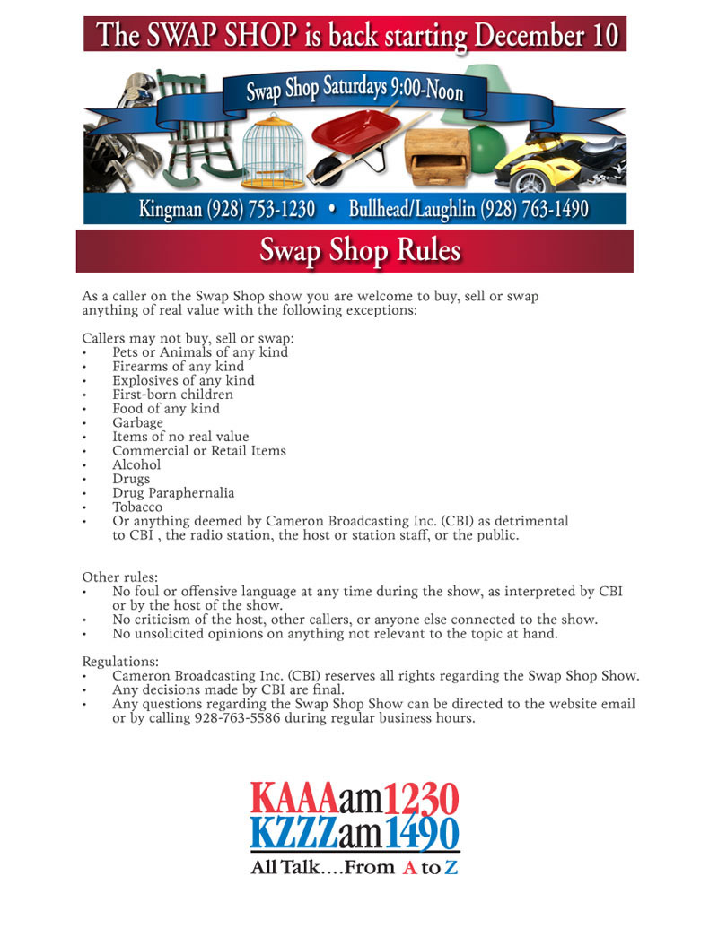 Swap Shop Rules